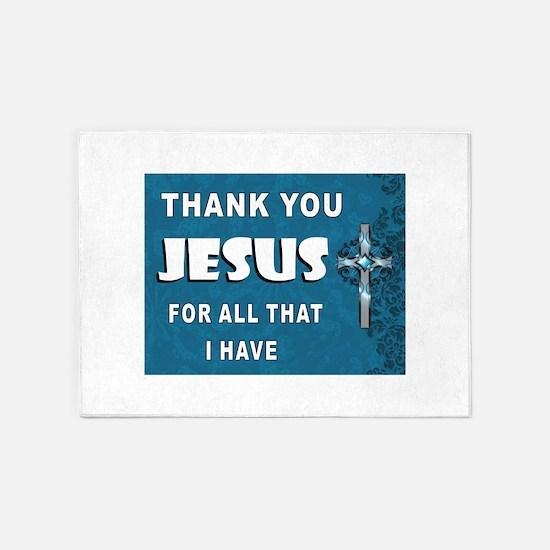 THANKS JESUS 5'x7'Area Rug