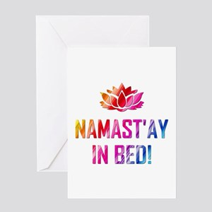 NAMASTAY IN BED! Greeting Cards