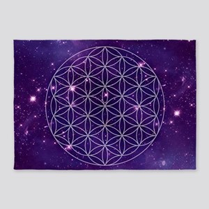 Flower Of Life Motif 5'x7'Area Rug