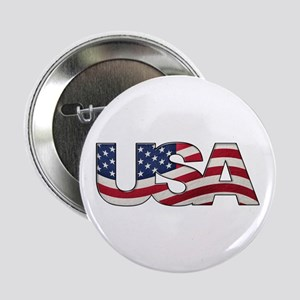 """Cool USA signage with real flag 2.25"""" Button"""