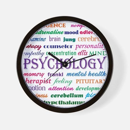 Psychology Word Cloud Wall Clock