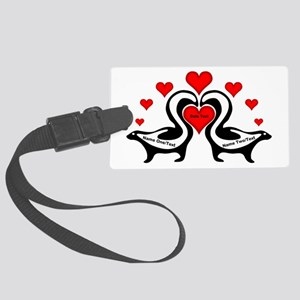 Personalized Skunks In Love Large Luggage Tag