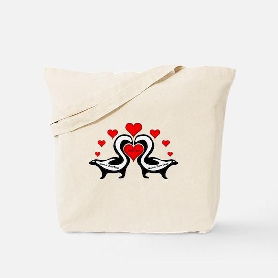 Personalized Skunks In Love Tote Bag