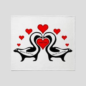 Personalized Skunks In Love Throw Blanket
