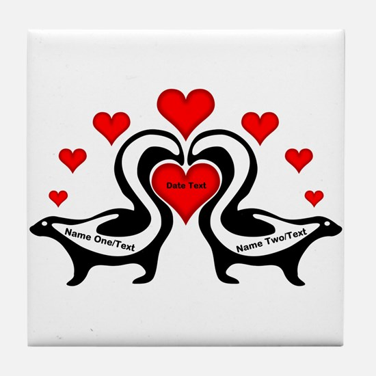 Personalized Skunks In Love Tile Coaster