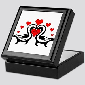 Personalized Skunks In Love Keepsake Box