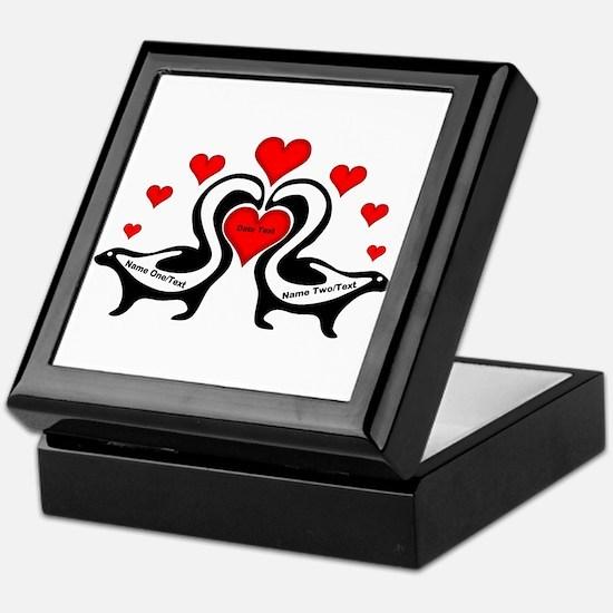 Personalized Skunks In Love Keepsake Box