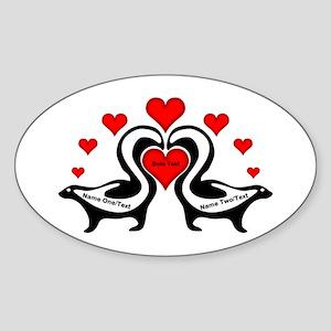 Personalized Skunks In Love Sticker (Oval)