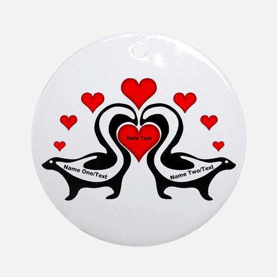 Personalized Skunks In Love Round Ornament