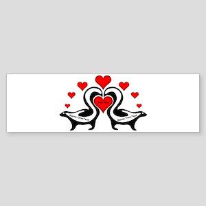 Personalized Skunks In Love Sticker (Bumper)