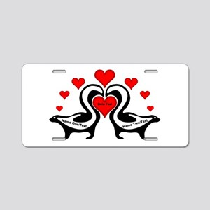 Personalized Skunks In Love Aluminum License Plate
