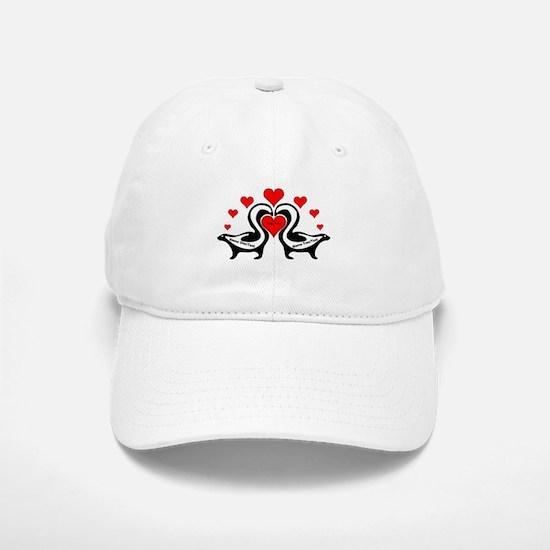 Personalized Skunks In Love Baseball Baseball Cap