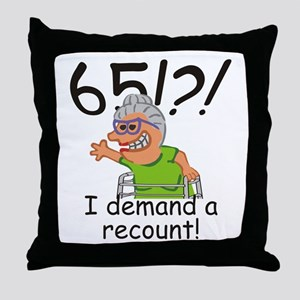 Recount 65th Birthday Funny Old Lady Throw Pillow