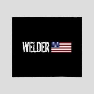 Welding: Welder (American Flag) Throw Blanket