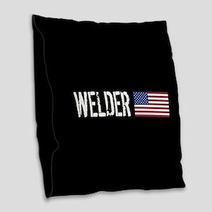 Welding: Welder (American Flag Burlap Throw Pillow