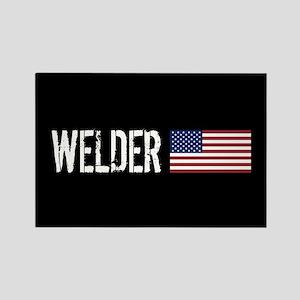 Welding: Welder (American Flag) Rectangle Magnet