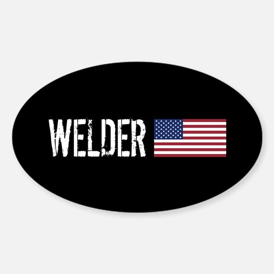 Welding: Welder (American Flag) Sticker (Oval)