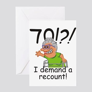 Recount 70th Birthday Funny Old Lady Greeting Card