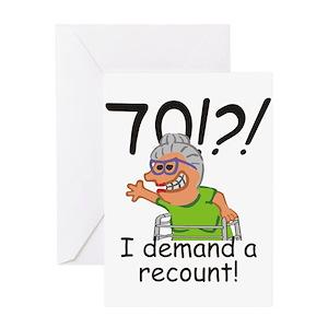 Funny 70th Birthday Greeting Cards