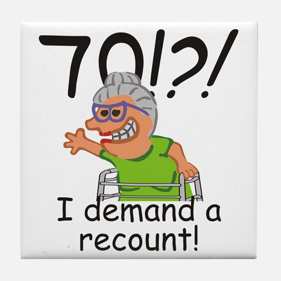 Recount 70th Birthday Funny Old Lady Tile Coaster