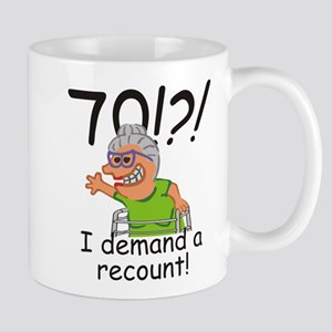 Recount 70th Birthday Funny Old Lady Mugs