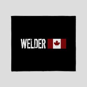 Welding: Welder (Canadian Flag) Throw Blanket