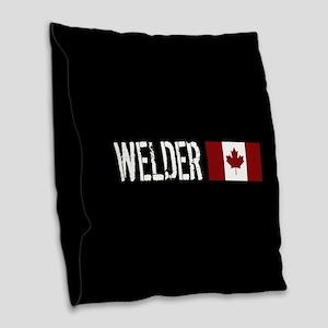 Welding: Welder (Canadian Flag Burlap Throw Pillow
