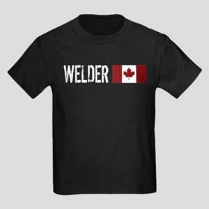 Welding: Welder (Canadian Flag) Kids Dark T-Shirt