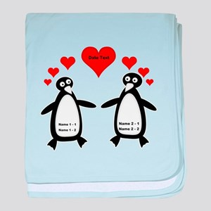 Personalized Penguins In Love baby blanket