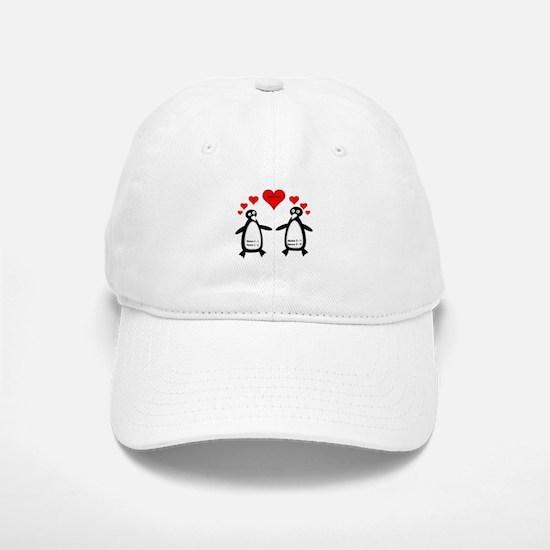 Personalized Penguins In Love Baseball Baseball Cap