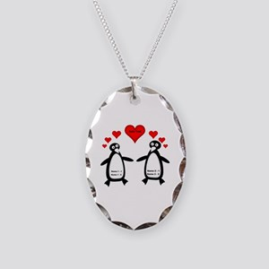 Personalized Penguins In Love Necklace Oval Charm