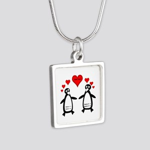 Personalized Penguins In L Silver Square Necklace