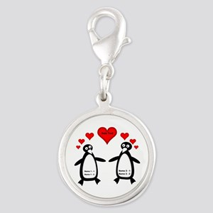 Personalized Penguins In Love Silver Round Charm