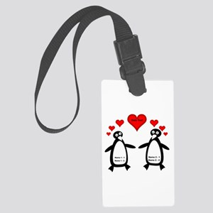 Personalized Penguins In Love Large Luggage Tag
