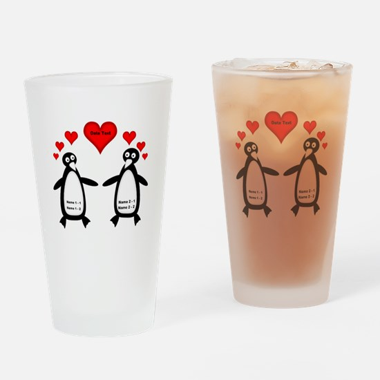 Personalized Penguins In Love Drinking Glass