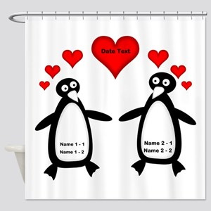Personalized Penguins In Love Shower Curtain
