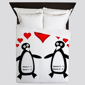 Personalized Penguins In Love Queen Duvet