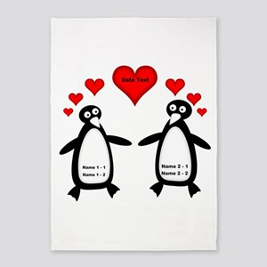 Personalized Penguins In Love 5'x7'Area Rug