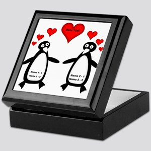 Personalized Penguins In Love Keepsake Box