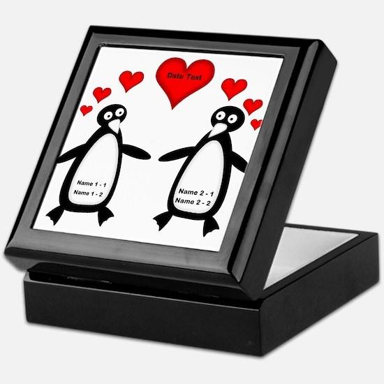Personalized Penguins In Love Keepsake Box
