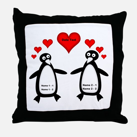 Personalized Penguins In Love Throw Pillow