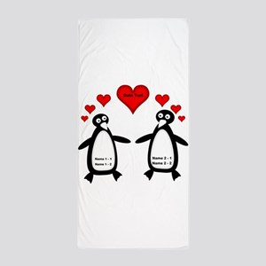 Personalized Penguins In Love Beach Towel