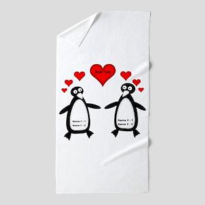 Personalized Penguins In Love Beach Towel 6c4463c06