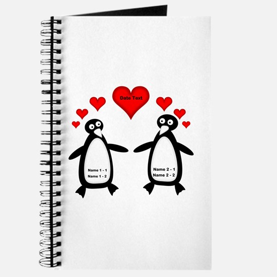 Personalized Penguins In Love Journal