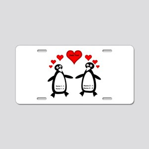 Personalized Penguins In Lo Aluminum License Plate