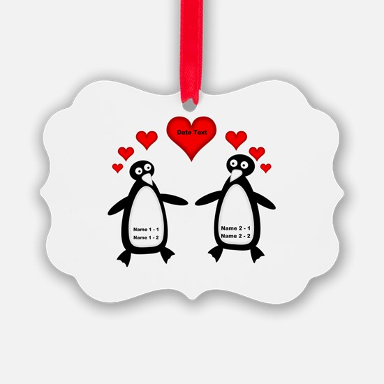 Personalized Penguins In Love Ornament