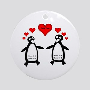 Personalized Penguins In Love Round Ornament