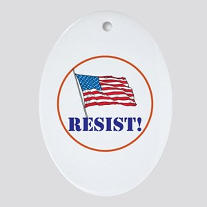 Resist! Stand up for justice Oval Ornament