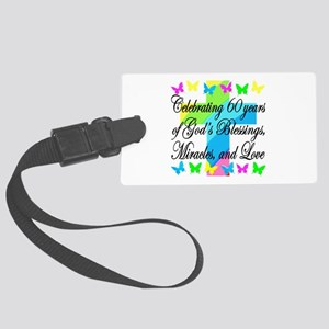 BLESSED 60TH Large Luggage Tag