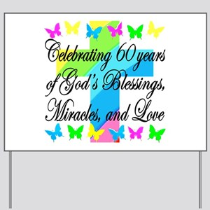 BLESSED 60TH Yard Sign
